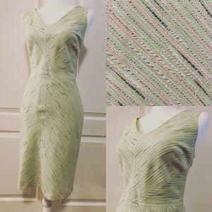 Ann Taylor Lime Green Pink Retro Sheath Dress